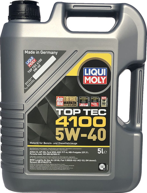 Motor Oil Liqui Moly 5W-40 Top Tec 4100 (5 Liters)