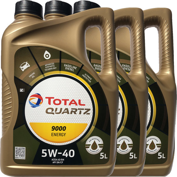 Motoröl Total 5W-40 Quartz 9000 Energy (3 X 5Liter)