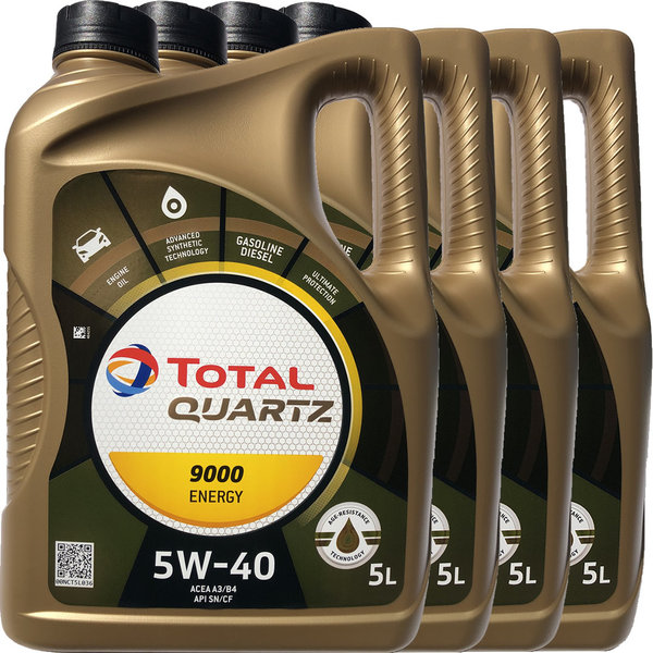 Motoröl Total 5W-40 Quartz 9000 Energy (4 X 5Liter)