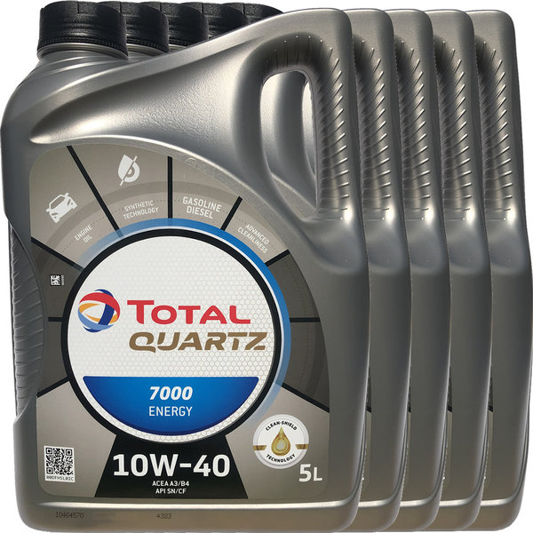 Motoröl TOTAL 10W-40 Quartz 7000 Energy (5 X 5Liter)