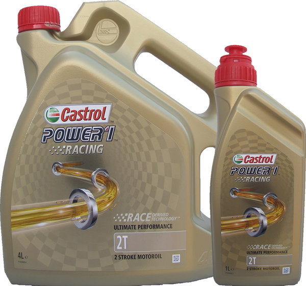 Motorradöl Castrol 2T Power1 Racing (4L + 1L)