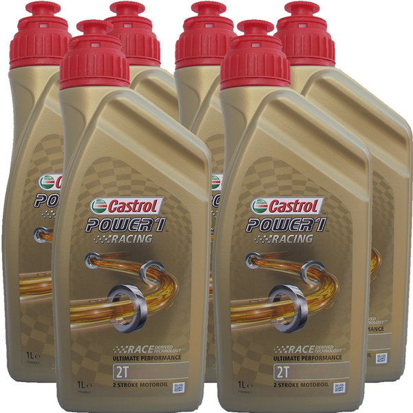 Motorradöl Castrol 2T Power1 Racing (6 X 1Liter)