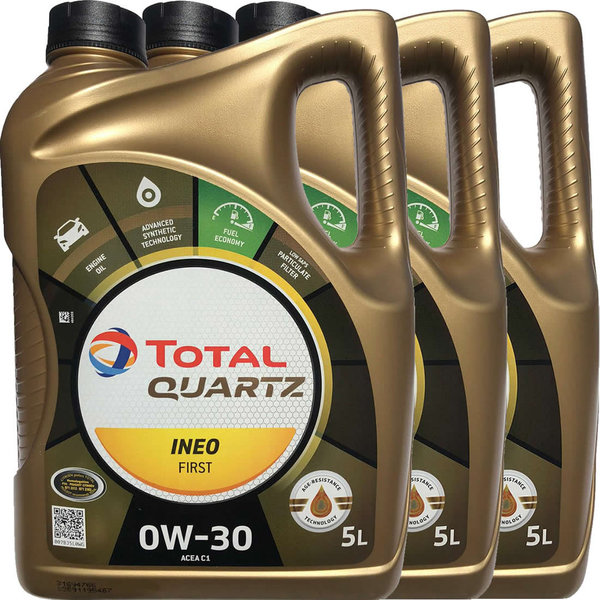 Motoröl Total 0W-30 Quartz Ineo First (3 X 5Liter)